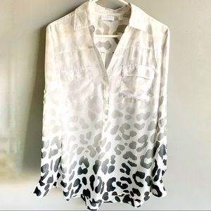 NY & Co. Animal Print Ombré Sheer Tunic Blouse